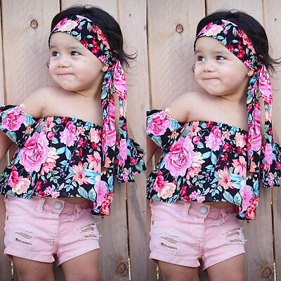 Kids Baby Girls Off Shoulder Floral Tops+Bowknot Headband 2PCS Outfits Clothes
