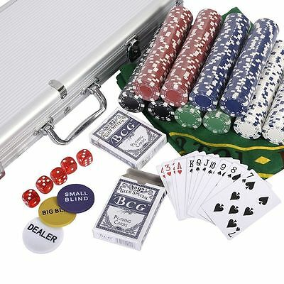 500 Chips Poker Dice Chip Set Texas Hold'em Cards w/ Aluminum Case New OY