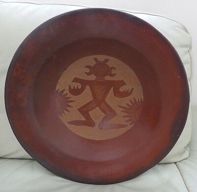 Massive Modernist Artwork Terracotta Clay Charger Bowl Stylised Design.