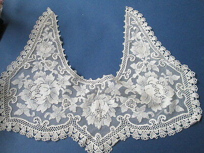 Antique collar  from cream cotton Guipure/embroidered with flowers/France