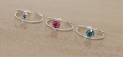 925 sterling silver round crystal toe ring adjustable pink blue clear womens UK