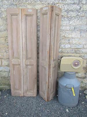 VINTAGE WOODEN FRENCH  WINDOW SHUTTERS 145 TALL CM  PAIR  Bi Folding   FREE POST