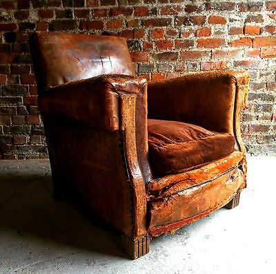 Battered French Club Chair Armchair Leather 1930's  Distressed For Reupholstery