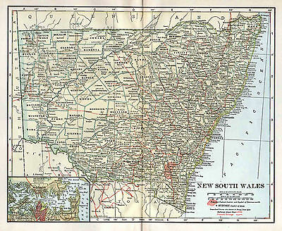 AUSTRALIA New South Wales Antique Map 1920's Wall Decor Sydney