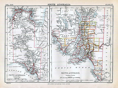 South Australia Map History Antique 1888 Original Britannica Wall Decor