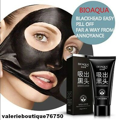 Masque Charbon purifiant black mask Anti Acné Point Noir peeling 60 ml +pinceau