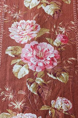 Antique French c1870 Printed Cotton Cabbage Roses & Rose Stripe Home Fabric
