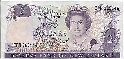 New Zealand $2 ND. 1980's P 170c Prefix EPN Circulated Banknote