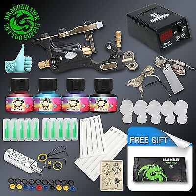 Professional Complete Tattoo Kit Rotary Tattoo Machine Gun 4 Inks Needles