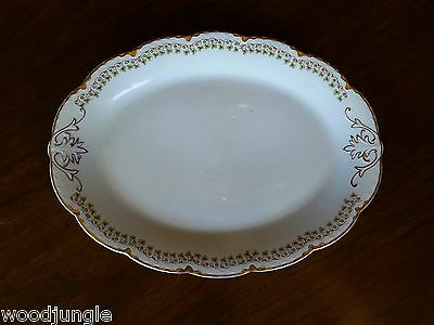 Antique HENRY ALCOCK & CO ENGLAND GREEN CLOVERS OVAL PLATTER