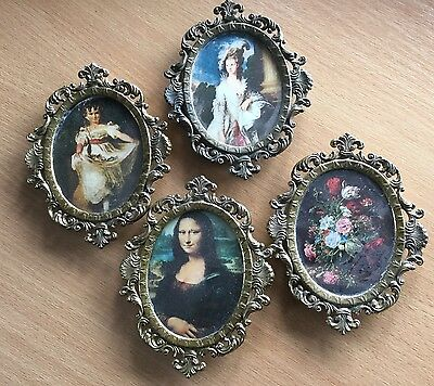 4 Vintage Retro Ornate Italian miniture pictures