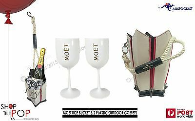 Moet & Chandon Ice bucket Champagne Wine chiller 2 Plastic Goblets BNWOT BBQ