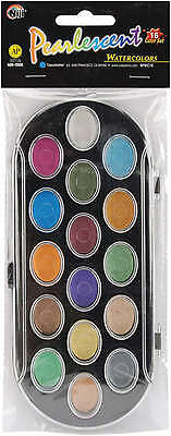 Pearlescent Watercolor Paint Cakes 16/Pkg Assorted Colors NPWC16