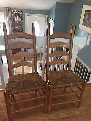 Pair Of Vintage Oak Ladderback Chair With Rush Seats