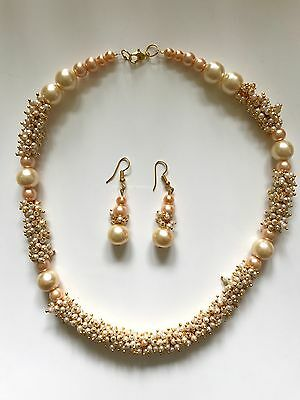 New Indian Bollywood Style Champagne Pearl Set Party Wear Matching Earrings