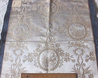 French 19thC Antique HomeDec Heavy Silk Lampas-Brocade Fabric~Style Of Louis XVI
