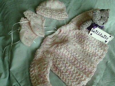 Hand Knitted Babies Matinee Set, Pink, 0/6 months.