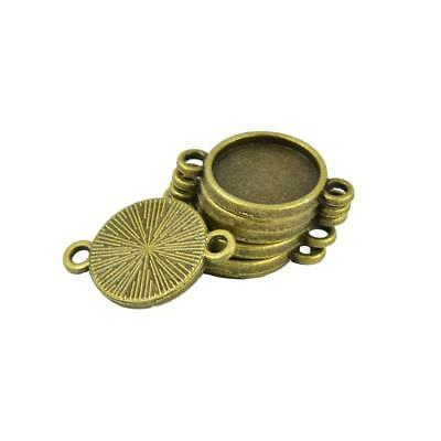 50Pcs 10/12mm Antiqued Bronze Round Blank Settings Link Connectors Double Hoops