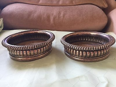 Pair Of Old Sheffield? Silver Plated Wine Coasters with Wood Bases