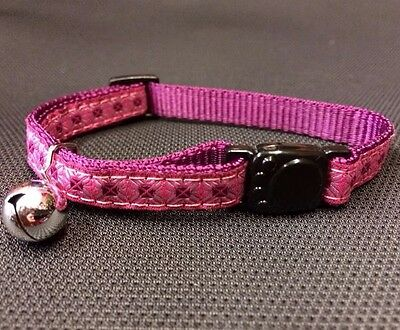 Cat Kitten Collar Pink Safety Collar Quick Release Soft Fabric & Bell