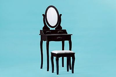 ViscoLogic Oval-Shaped Makeup Vanity Table Set with Stool - Brown