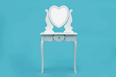 ViscoLogic Heart-Shaped Makeup Vanity Table Set with Stool (T005)