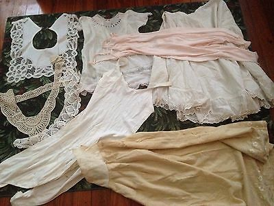 8 Piece Lot Victorian Clothes Slips Collars Underwear Baby Dress Lace