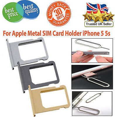 Nano Sim Card Tray Holder Replacement For Apple iPhone 5 5S Gold,Grey,Silver UK