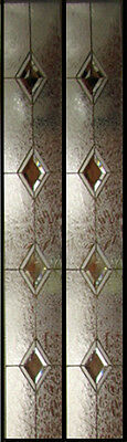 "Door Glass Sidelights Clear bevel Diamonds with texture obscure Art glass 12""x59"