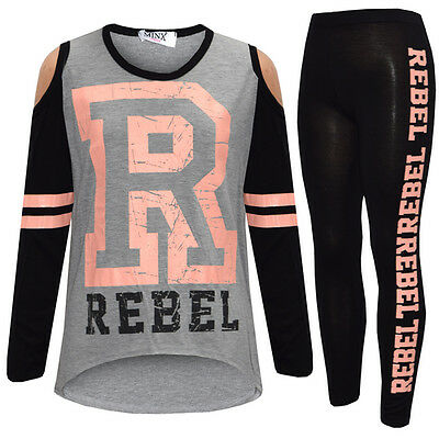 New Girls Kids Rebel Outfit Top & Leggings Black Grey Age 5 6 7 8 9 10 11 12 13