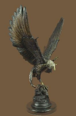 "22"" Tall Hot Cast Bronze American Bald Eagle Signed Statue Sculpture on Marble"