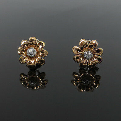 New Gerard 0.25ct Ideal Cut Diamond 18K Rose & White Gold Flower Clip Earrings
