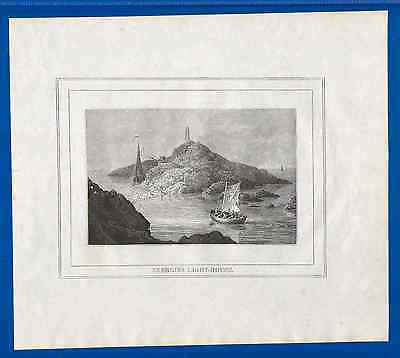 Antique Engraving-The Skerries Lighthouse-The Beauties of Cambria-Woodcut-1823