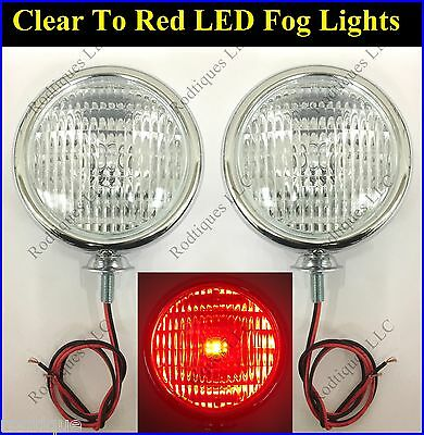 """LED Clear to Red Chrome 5"""" Lights Fog Driving Accent Parking Universal Ford"""