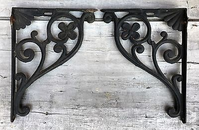 "Vintage Pair Large Cast Iron Floral Scrolls Shelf Brackets Entry Corbels 15""x11"""