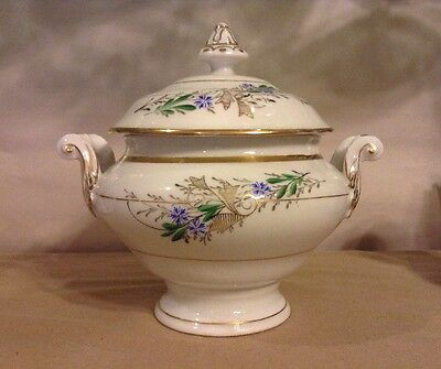 Vintage Small Soup Tureen White Gold With Green Leaves