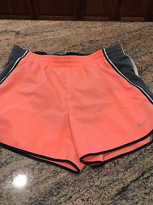 Women's Nike Dri-Fit Lined Running Shorts Peach Gray Size M