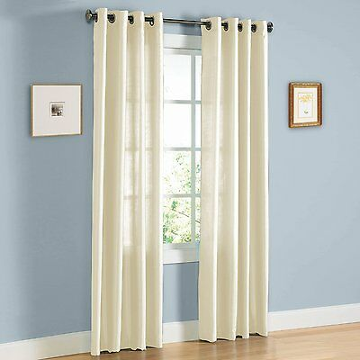 "Solid Faux Silk Window Curtain 38"" Wide Panel With bronze Grommets - Beige NEW"