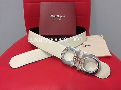 New Authentic Men's White/black Reversible Ferragamo Belt 95cm Waist 32-34