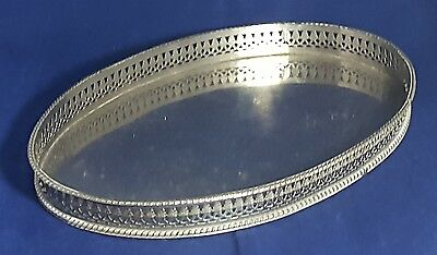 Beautiful Oval Shaped Silver Plated Gallery Tray