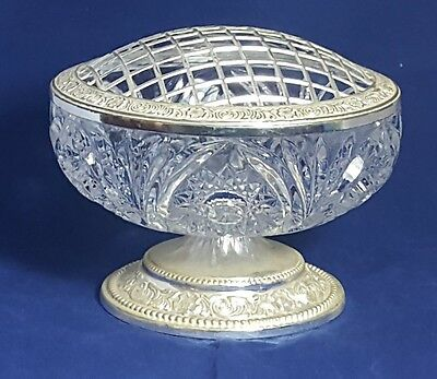 Beautiful  Cut  Glass Crystal abd Dilver Plated Rose Bowl