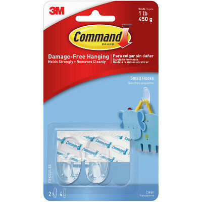 Command Small Hook 2/Pkg 2 Clear Hooks & 4 Strips 17092CLR