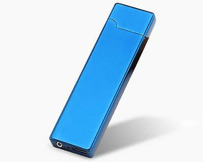 Elegant Metal Slim Blue + USB Cable Charged Lighter + Etui Free Shipping