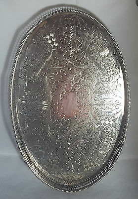 Beautiful Vintage Heavy Silver Plated Gallery Tray