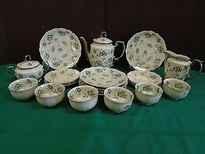 Mitterteich Bavaria Fine China 23pc TEA SET Service for 6 Green & Silver Flowers