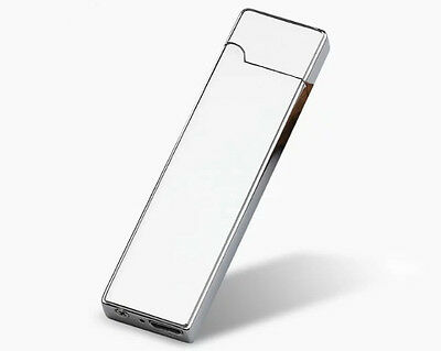 Elegant Metal Slim Silver + USB Cable Charged Lighter + Etui Free Shipping