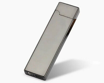 Elegant Metal Slim Graphite + USB Cable Charged Lighter + Etui Free Shipping