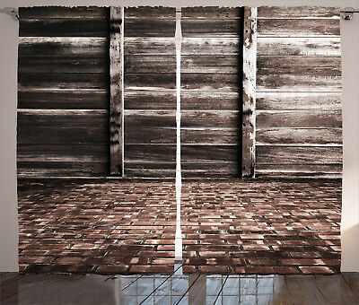 Rustic Curtains Brick Floor Wooden Wall Window Drapes 2 Panel Set 108x84 Inches