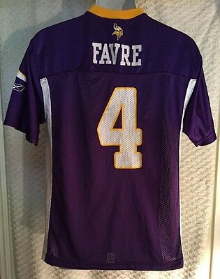 454a839c4 YOUTH NFL MINNESOTA Vikings  4 Brett Favre Purple White Jersey Size ...