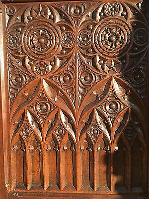 A Stunning thick massive Gothic Carved door panel in oak